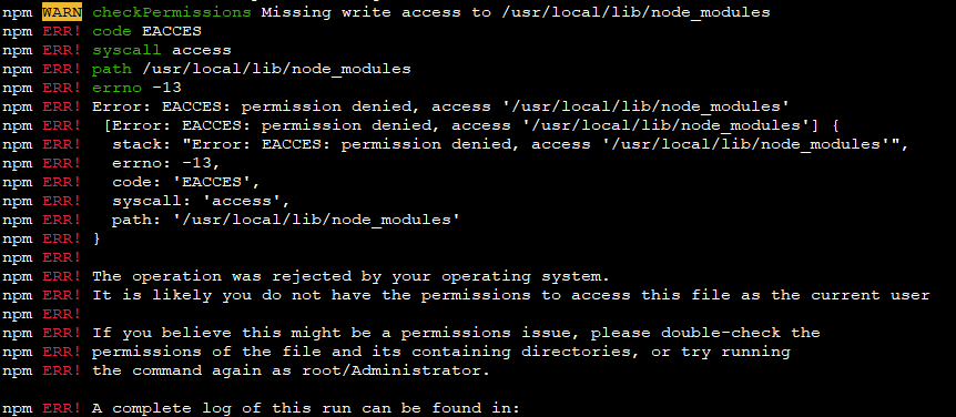npm install -g 実行時に「npm WARN checkPermissions Missing write access to」が発生した場合の対処法