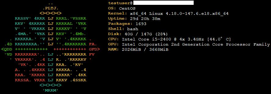 Centos8 システム情報をコンソールに表示できる「screenFetch」をインストールする手順