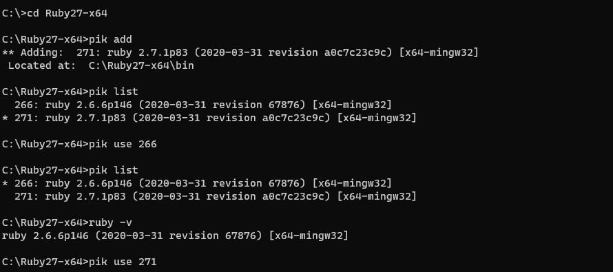 windows10 Pikを使ってRubyのバージョンを管理する